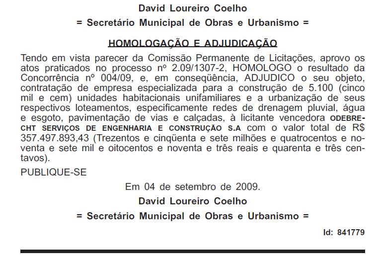 DO da PMCG homologando a construção das primeiras 5.100 casas do contrato milionário com a Odebrecht