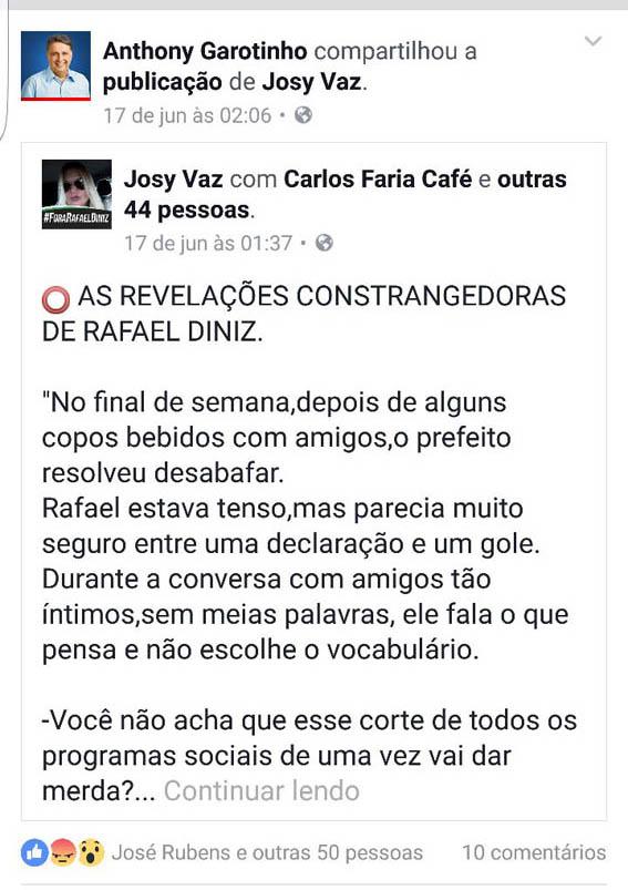 as 2.6h Garotinho compartilha a publicação de Josy em seu perfil no Face