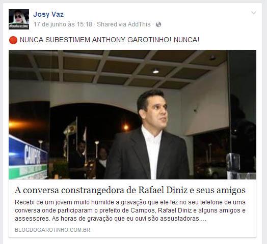 as 15,18h Josy compartilha a publicaç~çao no blog de Garotinho