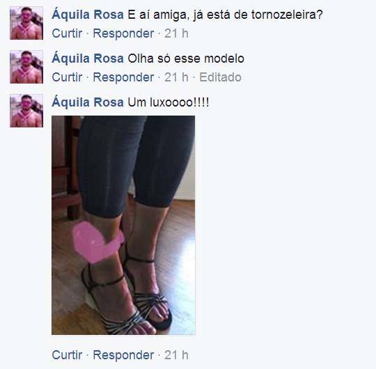 Fã de Linda Mara deixou mensagem de incentivo em sua página indicando modelo de tornozeleira rosa
