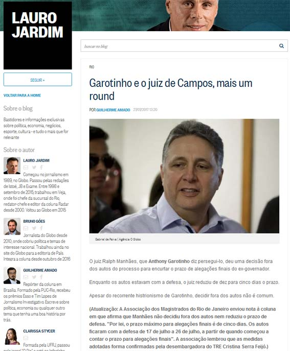 O colunista Lauro Jardim publica nota da Associação dos Magistrados do Rio de Janeiro desmentindo o que havia publicadfo