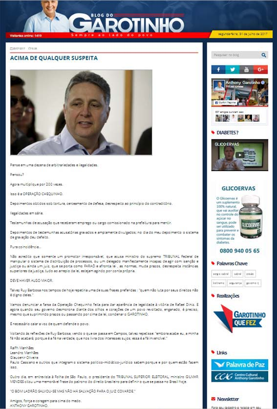 Se dizendo acima de qualquer suspeita, Garotinho mente em seu blog induzindo o colunista de O Globo ao erro