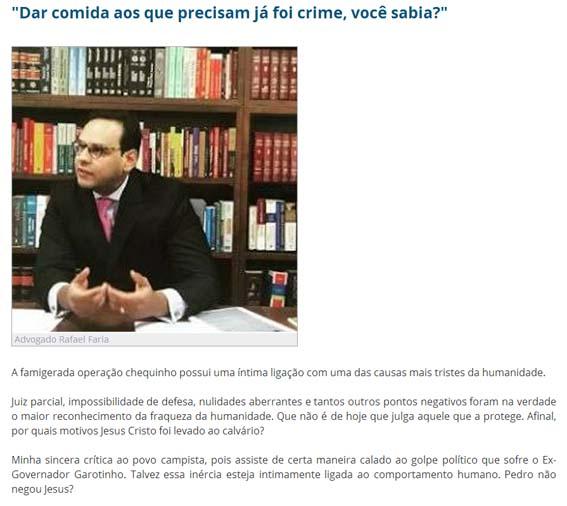"O ""ex-advogado"" de Garotinho Rafael Faria"