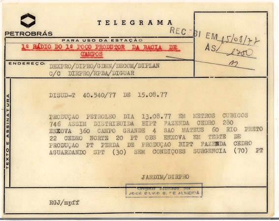 Telegrama da primeira produção comercial na Bacia de Campos