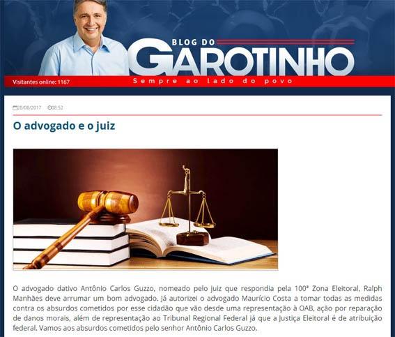 Garotinho não poupou adjetivos em seau blog para denegrir o advogado campista