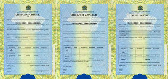Novos modelos de formulários para certidões de nascimento, casamento e óbito (Foto: Ministério da Justiça/Divulgação)