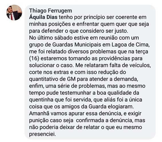 Opositor confirma qualidade das quentinhas que o Governo Rafael Diniz serve aos Guardas Municipais