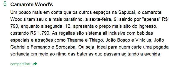 """Da reportagem """"Os14 camarotes de Carnaval caros e badalados espalhados pelo Brasil..."""